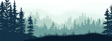 Horizontal Banner Of Forest And Meadow, Silhouettes Of Trees And Grass. Magical Misty Landscape, Fog. Blue And Gray Illustration. Bookmark.