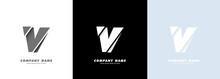 Abstract Art Alphabet Letter V Logo. Broken Design. Vector EPS 10. Isolated On White Background