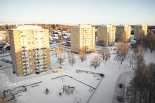 High Angle View Of Blocks Of Flats At Winter
