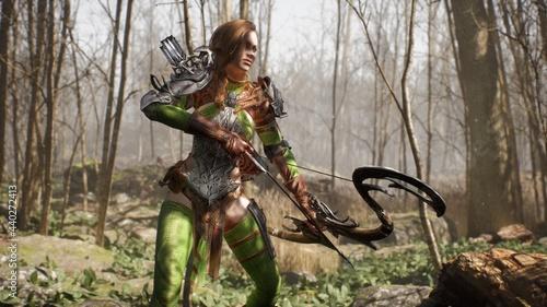 Vászonkép An elven girl archer and a formidable giant orc prepare for battle