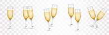 Happy New Year 2022. Glasses Of Champagne And Golden Elegant Lettering. Vector