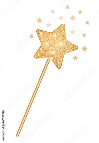 Fototapeta Magic golden glitter wand with magic stars.