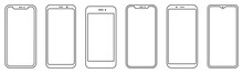 Smartphone Outline Set. Phone. Mobile Phone. Vector
