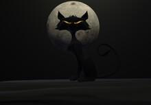 3d Illustration Evil Cat, Yellow Eye, Full Moon Black Background. Horror Concept Backdrop. Happy Halloween Card.