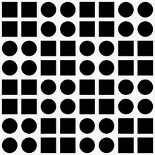 Four Circles And Squares Ornament. Checkered Squares And Circles Pattern.