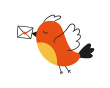 Cute Bird Carries A Love Letter. The Postman Bird. Valentine Card. Vector Illustration In Hand Drawn Style On White Background.