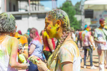 The Pretty Young Woman In The Color Fest, Colored Face Of The Young Woman, Color Festival In India