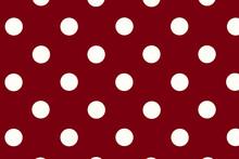 Burgundy Background With Polka Dots, Dark Red Background With White Large Polka Dots