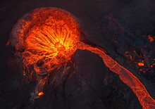 Hot Lava Flowing Through Mountains