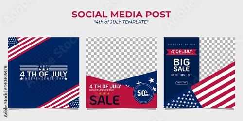 Modern social media post banner template design for US independence day celebrat Fototapet