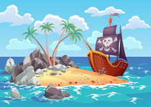 Pirate Ocean Island In Cartoon Style With Ship Moored On The Island. Palm Trees On Uninhabited Sea Island. Tropical Landscape With Sandy Beach And Tropical Nature