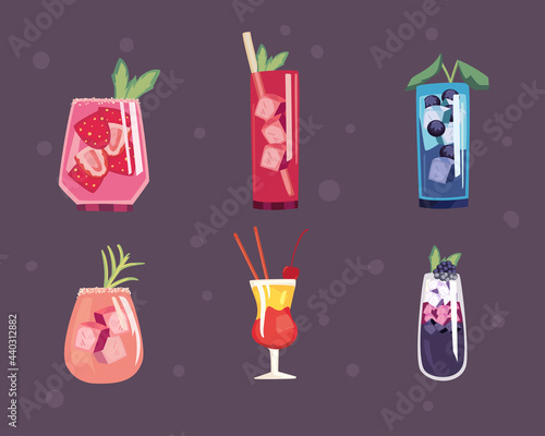 Murais de parede Cocktail drinks icon collection