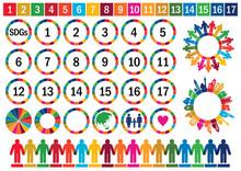 SDGs-持続可能な開発目標の人々シルエットイメージマークセット