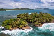Tropical Island Aerial View. Wild Coastline Lush Exotic Green Jungle. Red Frog Beach In Bastimentos Island, Bocas Del Toro, Central America, Panama.