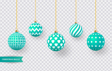 Set Of Realistic Green Christmas Balls With Various Patterns. Vector