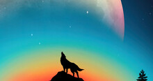 Wolf Howling Silhouette Digital Art Illustration