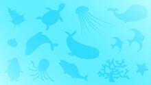 海 海中 水中 魚影 背景 イラスト素材