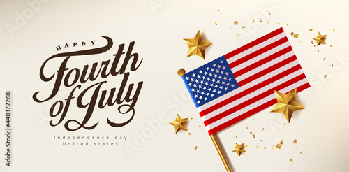 Independence day USA celebration banner with Realistic gold star and Flag of the United States Fototapet