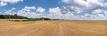 Malerisches Panorama Stoppelfeld Mit Wolkenlandschaft Und Entfernter Scheune Im Sonnigen Sommer