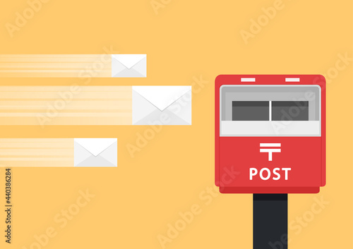Wallpaper Mural Mailbox vector. Red mailbox on yellow background.