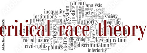 Obraz na plátně Critical Race Theory vector illustration word cloud isolated on a white background