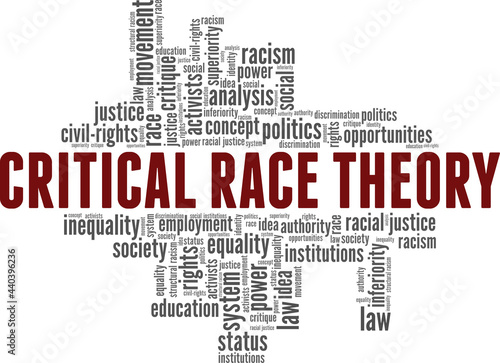 Fotografie, Obraz Critical Race Theory vector illustration word cloud isolated on a white background