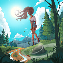 Girl In Shorts And Top In A Summer Forest, Wolf Tattoo On Leg, Mountains, Wind Magic