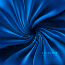 Abstract Background Of Blue Swirled Textile With Folds And Drapes