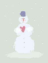 Snowman In Love. Cute Flat Style Illustration. Quirky Funny Smiling Snow Man Holding Heart On A Cold Winter Snowy Gray Day. Christmas, New Year's Greeting Card, Postcard, Season's Greetings Design.