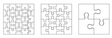 Various Sizes Puzzle Set.Puzzle Pieces Assembled Together In Square Patterns Of Different Sizes.Set Of White Puzzle Pieces On White Background.Vector Illustration