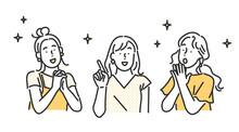 笑顔の女性・友達に紹介するイラスト素材