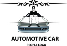 Vector Illustration Of A Man Sitting On A Car