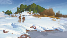 Winter Landscape With Two Deer Snow Covered Hill Digital Art Illustrations