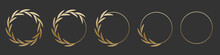 Golden Laurel Wreath Round Frame Set. Gold Rings With Leaves, Circle Award Logo Or Emblem Vector Illustration. Roman Circular Badge For Anniversary, Wedding, Award Isolated On Gray Background