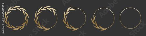 Obraz na plátně Golden laurel wreath round frame set