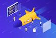 Leinwandbild Motiv Website Speed Concept With Rocket and Developers