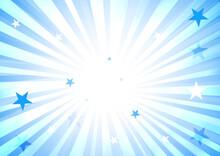 青色放射状背景と星
