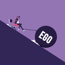 Ego And Selfishness, Businessman Sitting In A Chair And A Heavy Load Of Ego, Pulling Him Into The Abyss. Conceptual Scene Of Selfishness