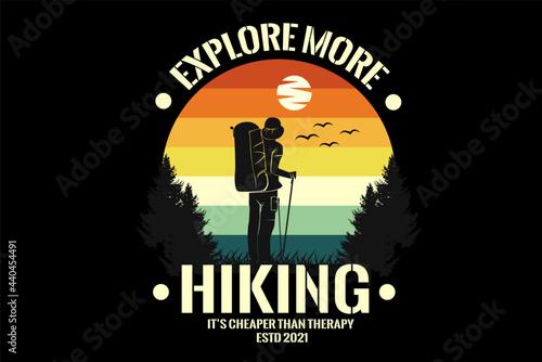 man hiking silhouette design with retro background Fototapeta