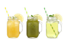 Summer Iced Green Teas In Mason Jar Glasses Isolated On A White Background. Iced Green Tea Lemonade, Iced Matcha Lemonade And Iced Green Tea.
