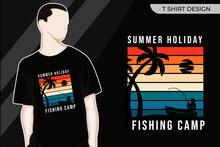 Summer Fishing On The Beach Merchandise Silhouette T Shirt Design