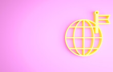 Yellow Planet With Flag Icon Isolated On Pink Background. Victory, Winning And Conquer Adversity Concept. Minimalism Concept. 3d Illustration 3D Render