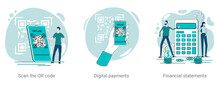 QR Code Scanning,digital Payments, And Financial Calculations.A Set Of Vector Illustrations On A Business Theme.Abstract Illustrations In Green Color.