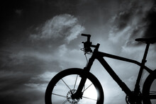A Black And White Photo Of A Mountain Bike For Your Project Background.