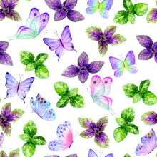 Fragrant Kitchen Culinary Herbs Spices Basil Leaves And Butterflies Watercolor Seamless Pattern