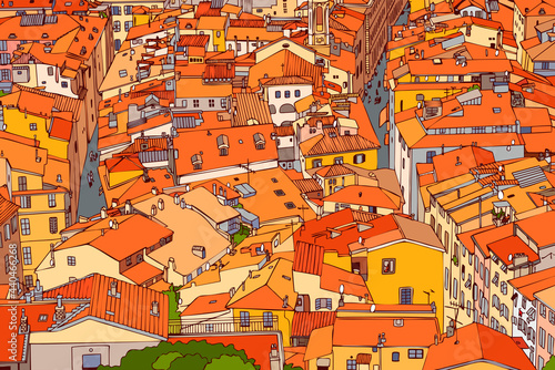 Red tiled roofs of Old Nice. France. Old town, street, house, roof, road, lane. Urban landscape. top view of the old town. Contour style. Linear art. Drawing a sketch. Vector.