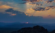 Sunrise Over The Four Peaks Mountain Range In Arizona