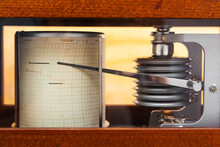 Barograph. The Barometer Is A Self-recording Device For Continuous Recording Of Atmospheric Pressure Values.