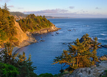 Cape Arago State Park Overlook At Sunset Along The Coast Of Oregon.