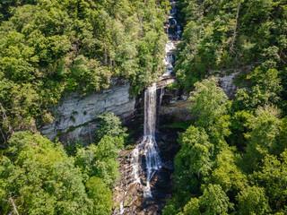 Beautiful Raven Cliff Falls in Blue Ridge Mountains of South Carolina